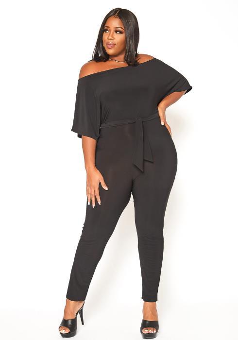 Asoph Plus Size Elegant Off Shoulder Fitted Jumpsuit