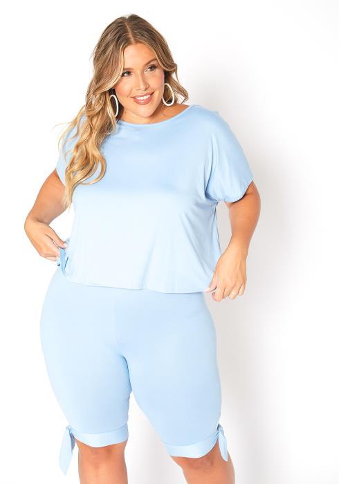 Asoph Plus Size Baby Blue Tee Shirt & Biker Shorts Set