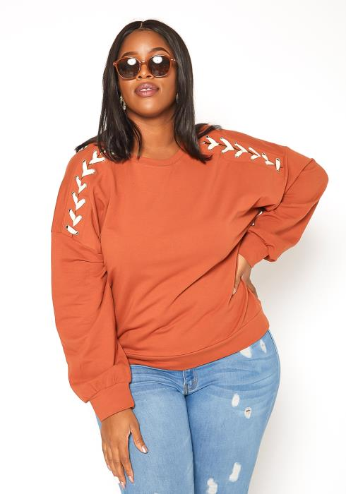 Asoph Plus Size Crosslace Shoulder Crew Neck Sweater