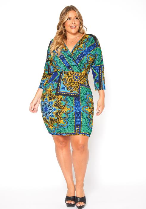 Asoph Plus Size Multi Ethnic Print Bodycon Dress