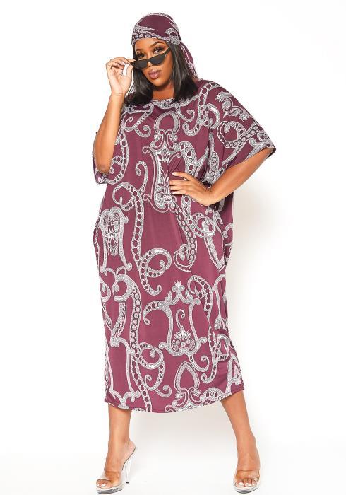 Asoph Plus Size Paisley Print Midi Dress