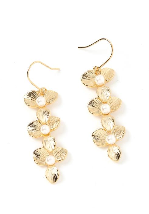 Marisol Floral Drop Gold Earrings
