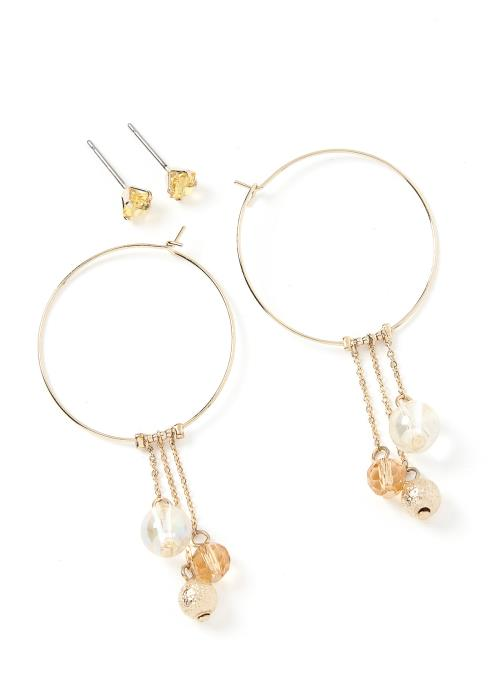Cenna Bead Charm Double Earring Set