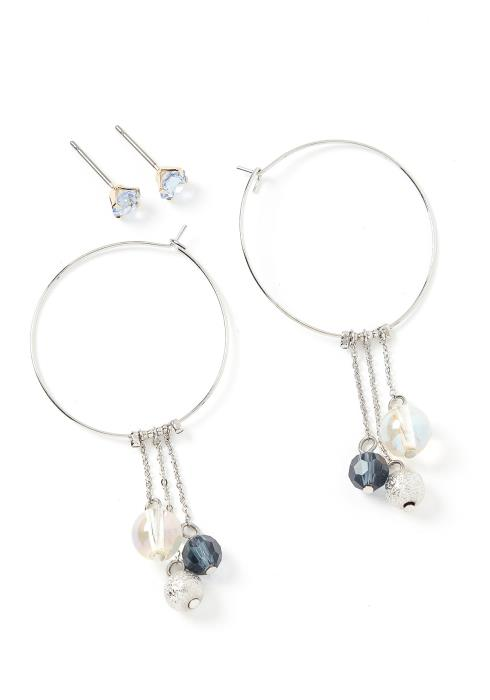 Cenna Bead Charm Double Earring Set