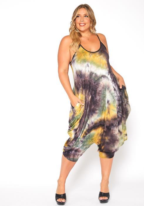 Asoph Plus Size Earthy Tie Dye Harem Cami Jumpsuit