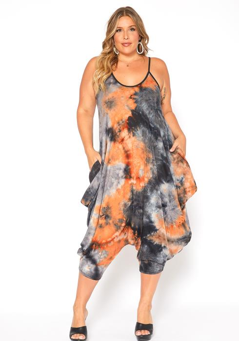 Asoph Plus Size Orange Tie Dye Harem Cami Jumpsuit