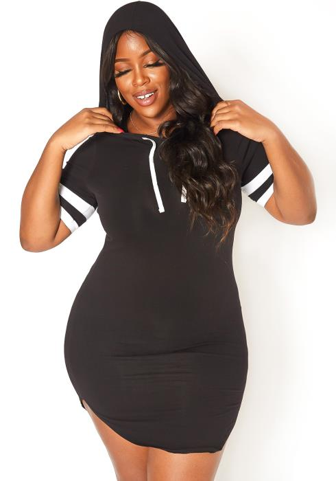 Asoph Plus Size Varsity Striped Hooded Mini Dress