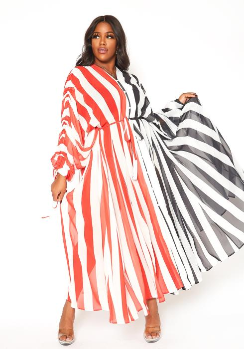 Asoph Plus Size Sheer Striped Long Sleeve Maxi Dress