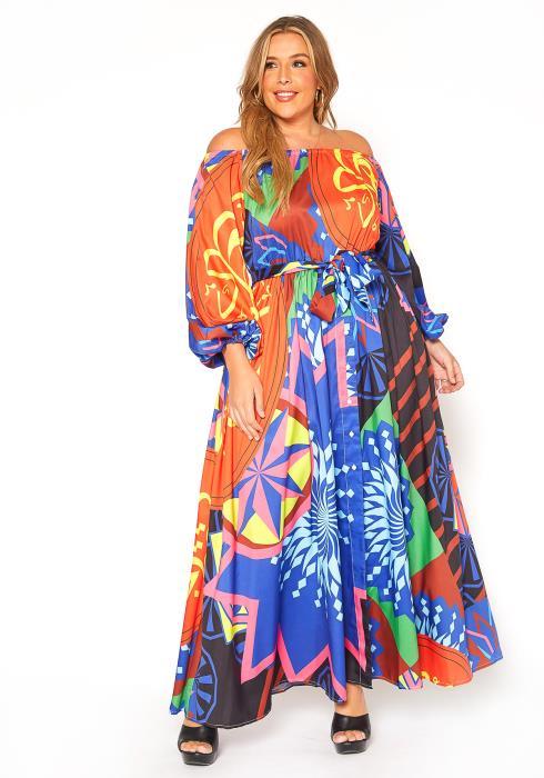 Asoph Plus Size Ethnic Print Off Shoulder Maxi Dress