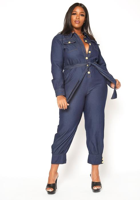 Asoph Plus Size Dark Denim Collar Jumpsuit