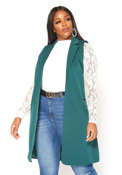 Asoph Plus Size Notch Collar Open Front Satin Vest