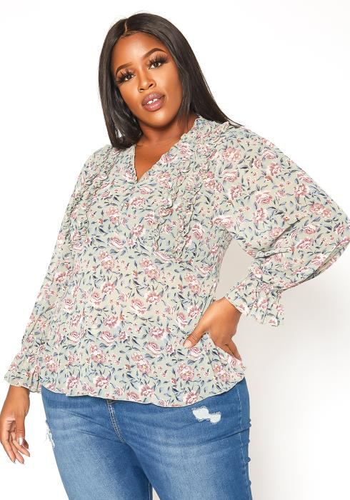 Asoph Plus Size Antique Floral Print Top