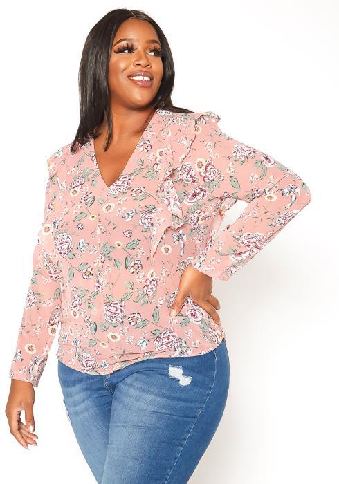 Asoph Plus Size Antique Floral Print Long Sleeve Blouse
