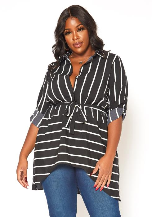 Asoph Plus Size Striped Collar Neck Longline Blouse