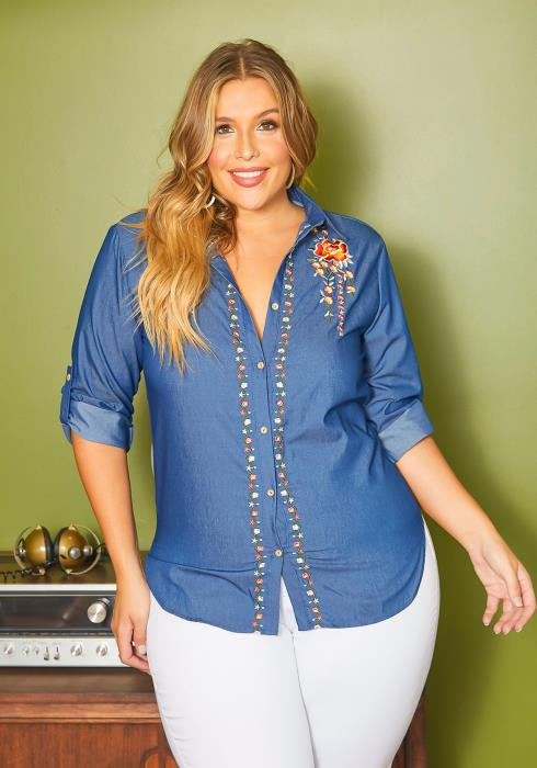 Asoph Plus Size Floral Embroidered Denim Collar Top