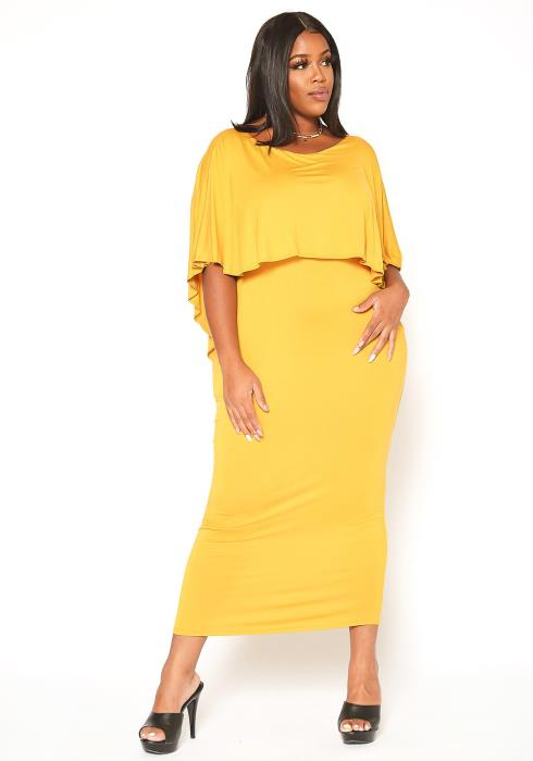 Asoph Plus Size Split Hem Cape Overlay Maxi Dress