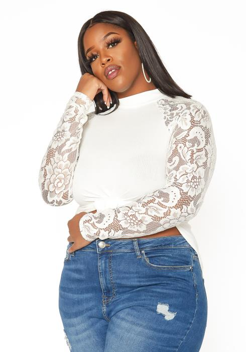 Asoph Plus Size Lace Contrast Long Sleeve Top