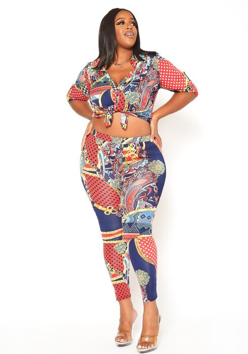 Asoph Plus Size Multi Print Collar Top & Leggings Set