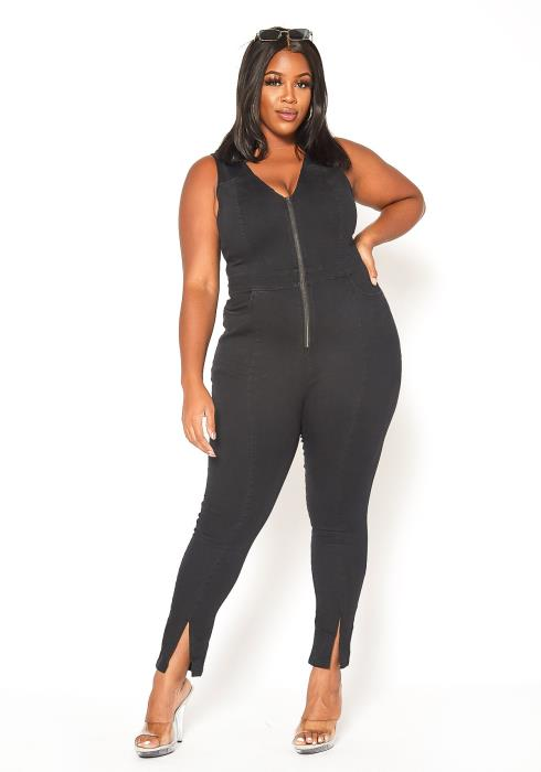 Asoph Plus Size Black Denim Sleeveless Bodycon Jumpsuit