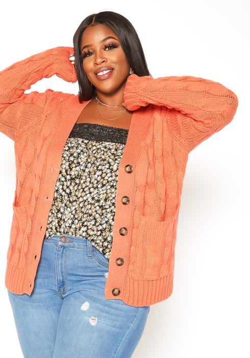 Asoph Plus Size Cable Knit Cardigan
