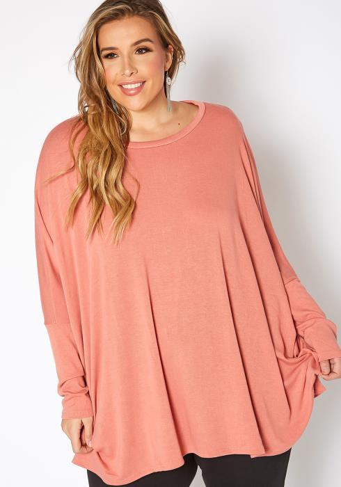 Asoph Plus Size Dolman Long Sleeve Oversized Sweater