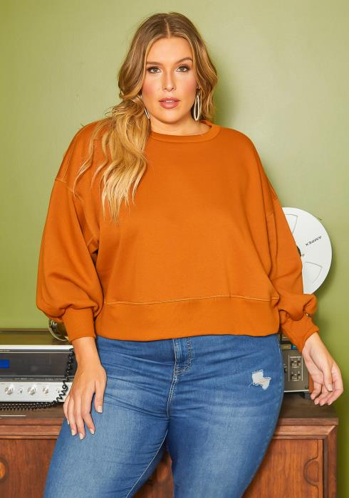 Asoph Plus Size Burnt Orange Crew Neck Sweater