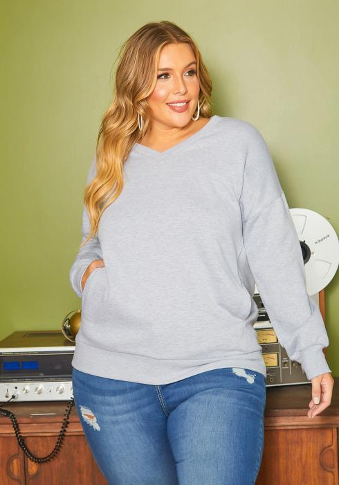 Asoph Plus Size Heather Gray V Neck Sweater