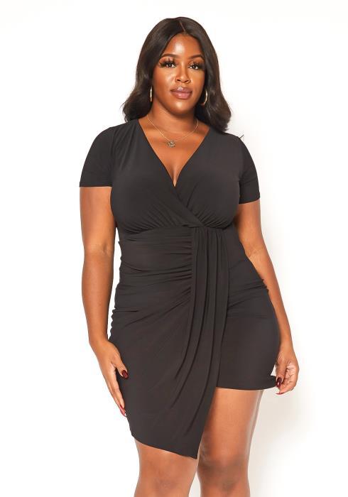 Asoph Plus Size Ruched Drape Front Mini Party Dress