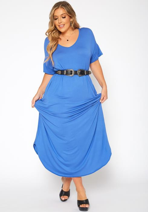 Asoph Plus Size Basic Drop Shoulder Solid Maxi Dress
