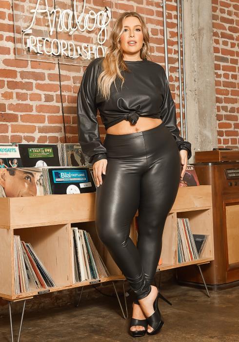 Asoph Plus Size PU Leather Matching Two Piece Set