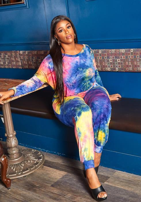 Asoph Plus Size Dreamy Tie Dye Crew Neck Sweater & Pants Set