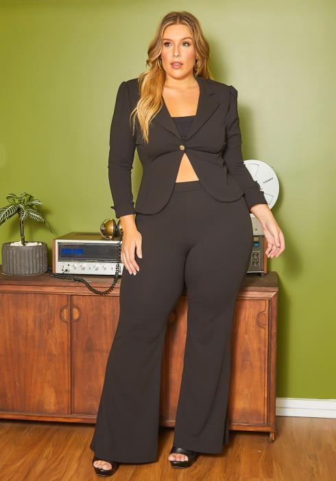 Asoph Plus Size Notch Collar Fitted Blazer & Straight Pants Set