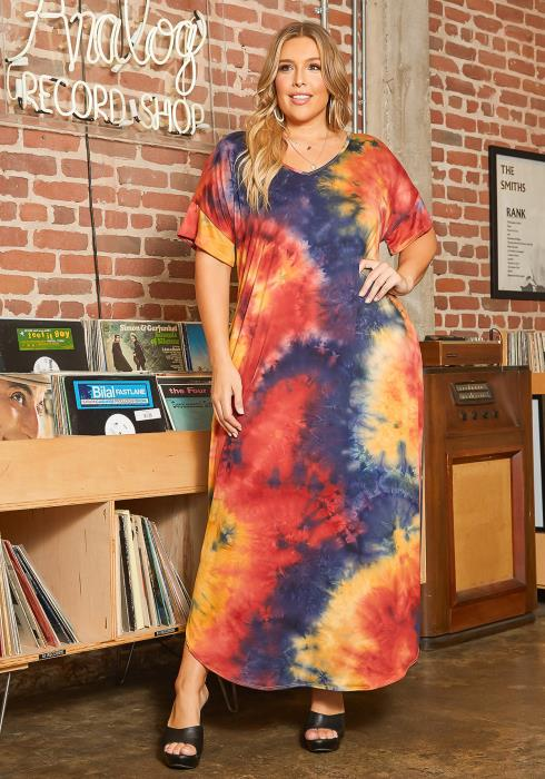 Asoph Plus Size Hippie Tie Dye V Neck Maxi Dress