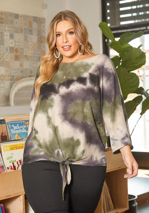 Asoph Plus Size Tie Dye Thermo Knit Sweater