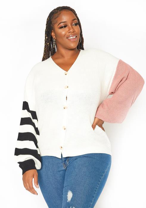Asoph Plus Size Waffle Knit Cardigan Sweater