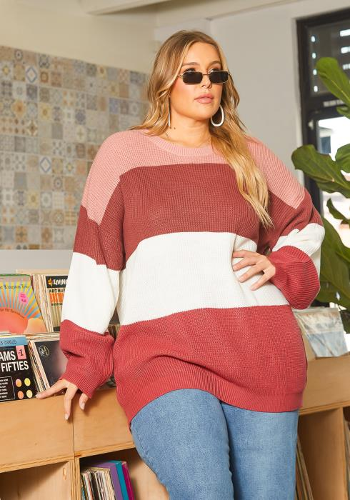 Asoph Plus Size Color Block Waffle Knit Oversized Sweater