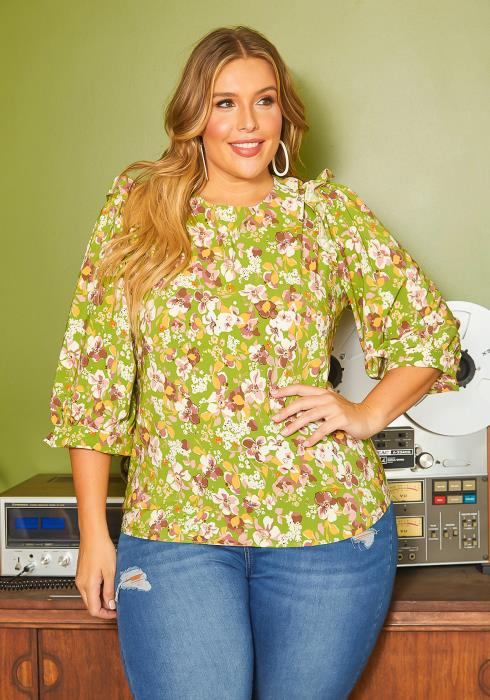 Asoph Plus Size Floral Bloom Print Top
