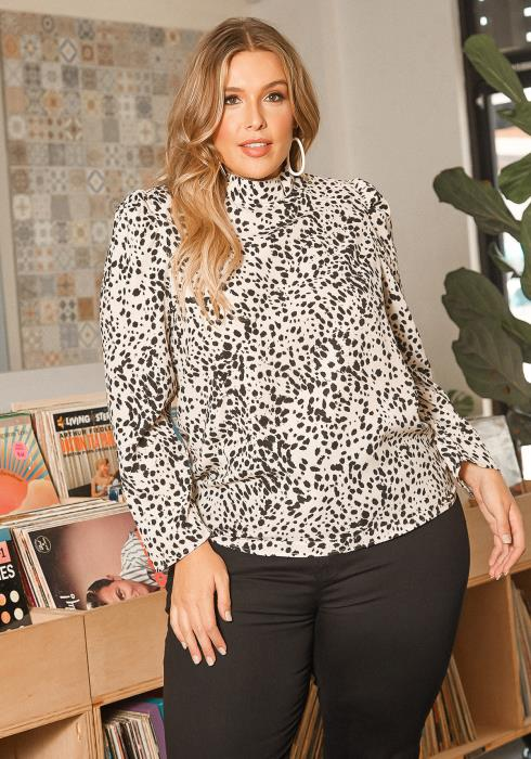 Asoph Plus Size Spotted Print Mock Neck Blouse