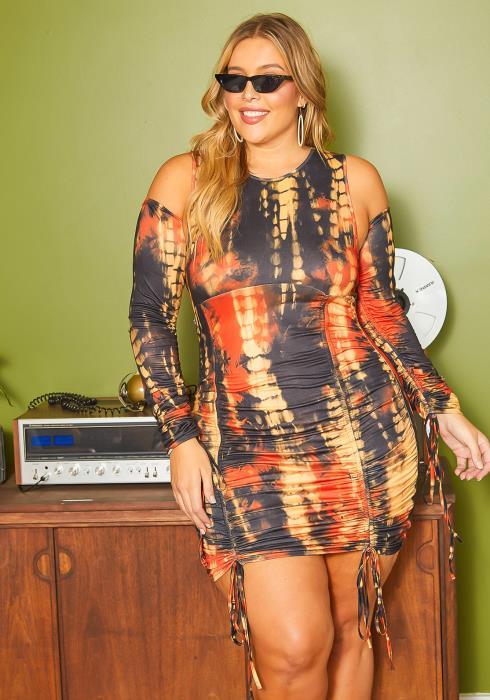 Asoph Plus Size Fiery Tie Dye Ruched Drawstring Hem Bodycon Mini Dress