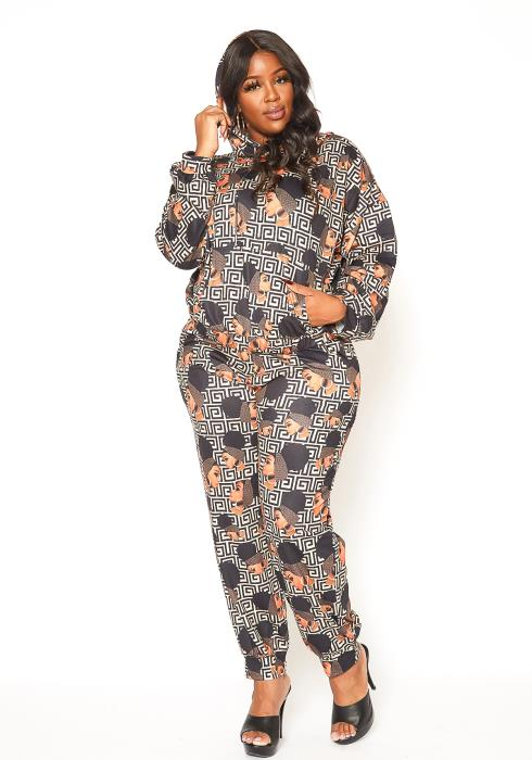 Asoph Plus Size Pop Graphic Printed Two Piece Set