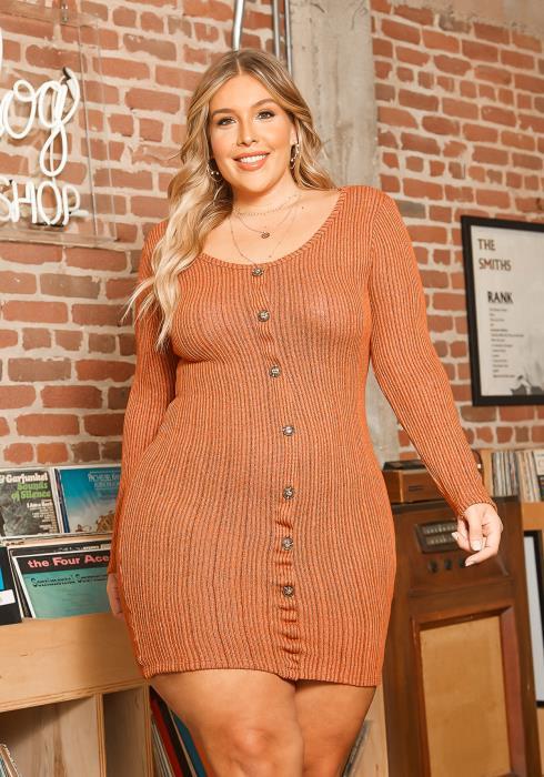Asoph Plus Size Ribbed Knit Button Front Bodycon Mini Dress