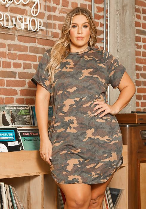 Asoph Plus Size Camo Print Tee Shirt Mini Dress