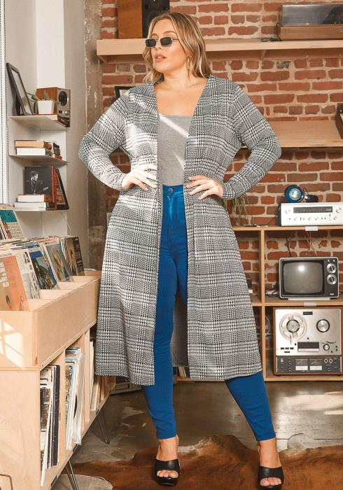 Asoph Plus Size Plaid Open Front Longline Cardigan