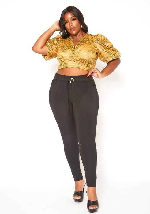 Asoph Plus Size Belted Skinny Pants