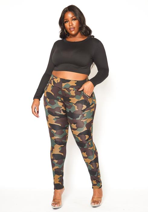 Asoph Plus Size Camo Print High Rise Fitted Pants