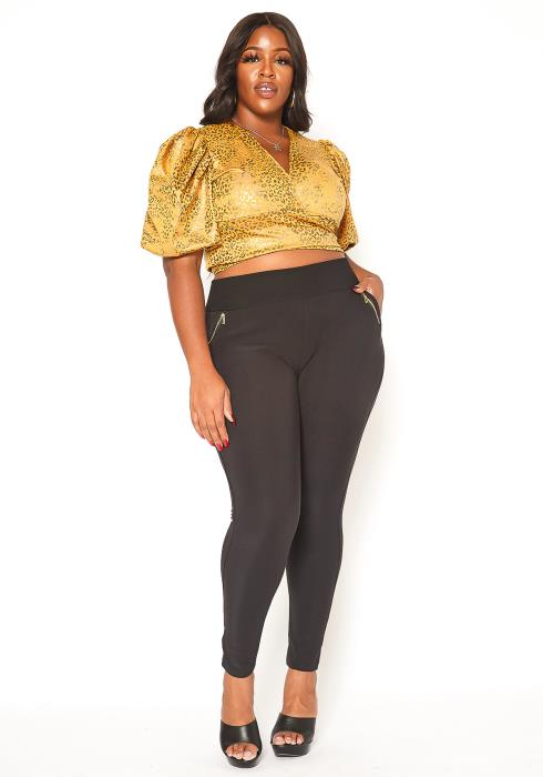 Asoph Plus Size Zipper Ascent High Rise Fitted Pants