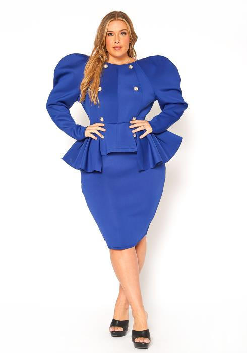 Asoph Plus Size Puff Shoulder Special Occasion Dress