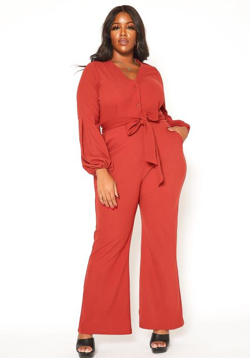 Asoph Plus Size Button Front Flare Leg Jumpsuit