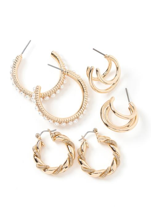 Yelm Golden Semi Hoop Earring Sets