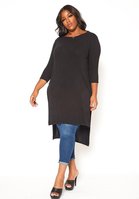 Asoph Plus Size Comfy Knit High Low Longline Top